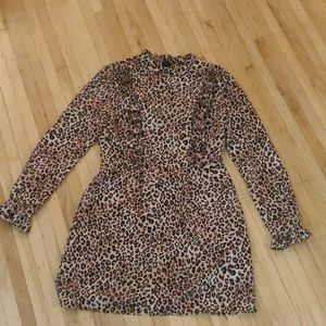 Leopard dress with frill detail